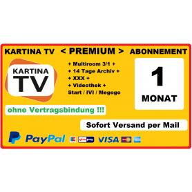 Kartina.TV «Премиум» пакет русскоязычных каналов сроком на 1 Mесяц