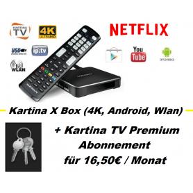 Kartina X / S - 4K Lan/ Wlan Receiver (Android) + Kartina TV Abonnement für 12 Monate «Premium-Paket» (12 x 16,50€ / Monat)