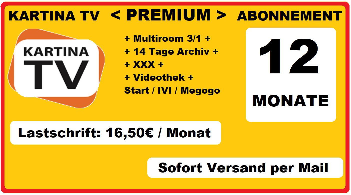 Angebot Kartina.TV 12 Monate Premium Abonnement 16.50