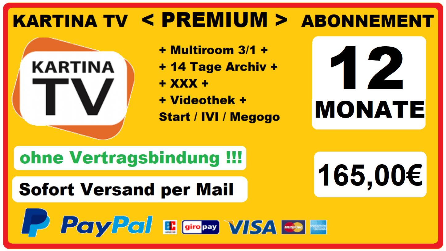 Angebot Kartina TV Abonnement Premium 12 Monate nur 165.00
