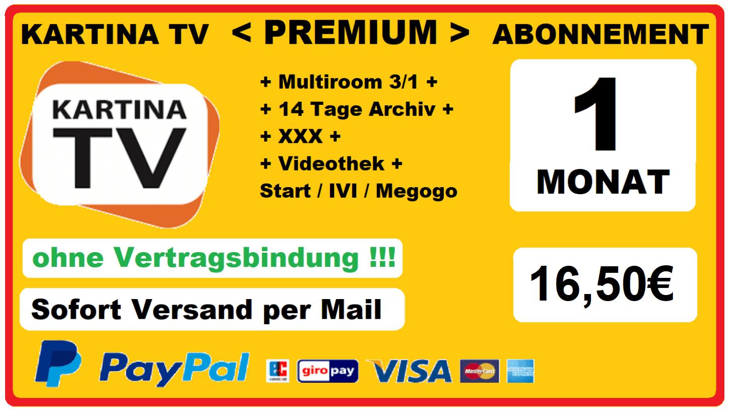 Angebot Kartina TV Abonnement Premium 1 Monat nur 16.50