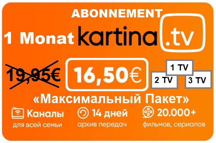 Kartina TV 1 Monat Premium nur 16,50€