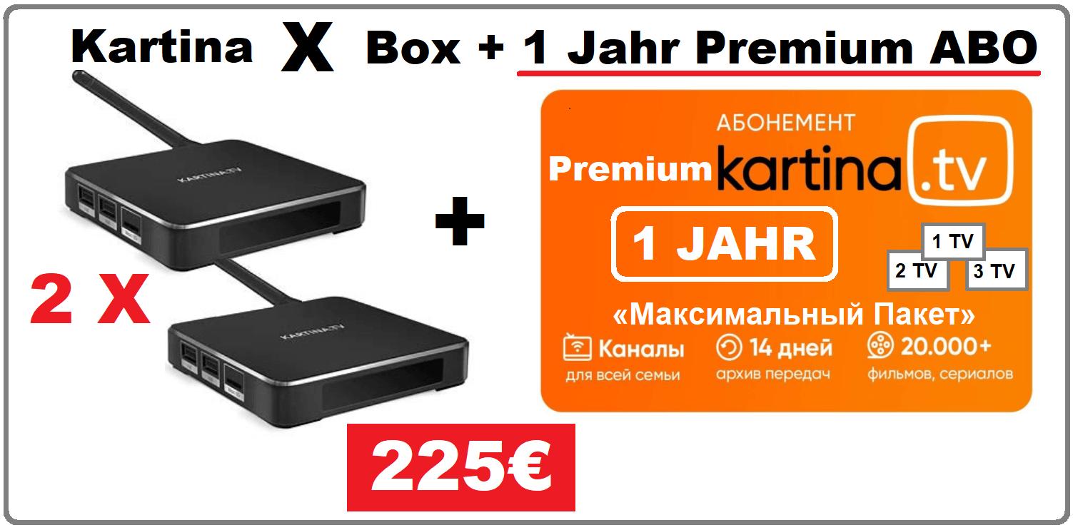 Angebot 2x Kartina X Android Smart TV Box 12 Monate Premium Abonnement 225.00