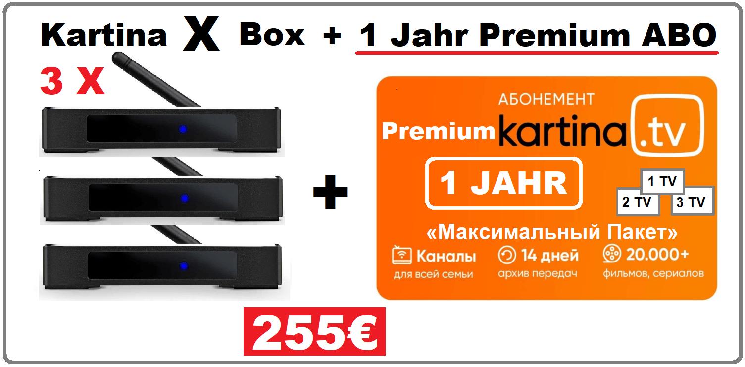 Angebot 3x Kartina X Android Smart TV Box 12 Monate Premium Abonnement 255.00