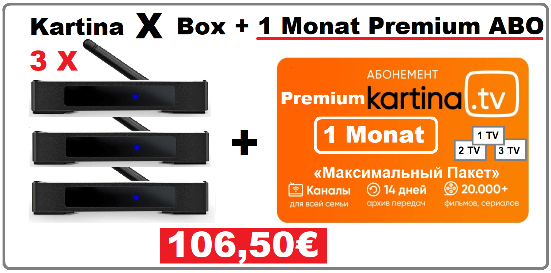 Angebot 3x Kartina X Android Smart TV Box 1 Monat Premium Abonnement 10650