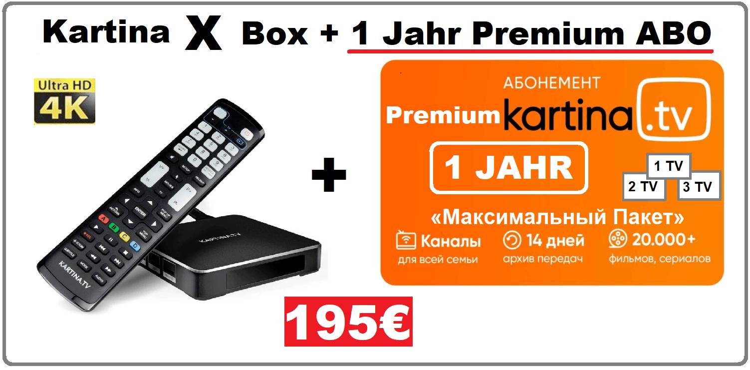Angebot Kartina X Android Smart TV Box 12 Monate Premium Abonnement 195.00