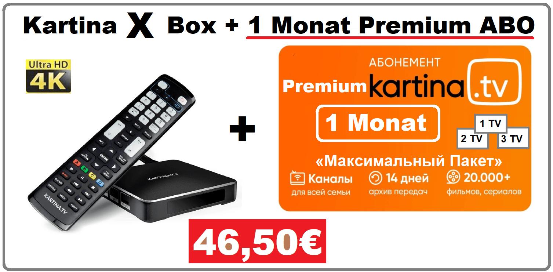 Angebot Kartina X Android Smart TV Box 1 Monat Premium Abonnement 46.50