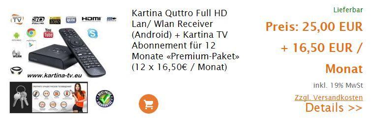Angebot Kartina Quattro inkl. Premium Abonnement